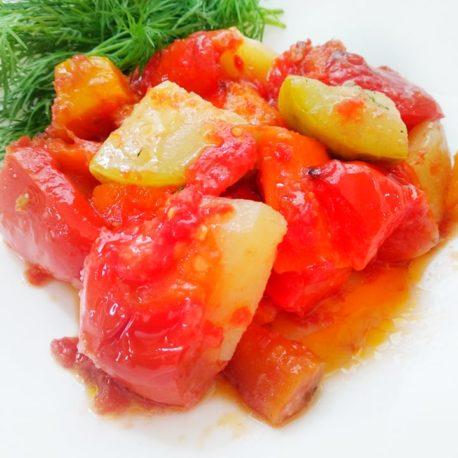 овощное рагу из баклажаном и сыром панир
