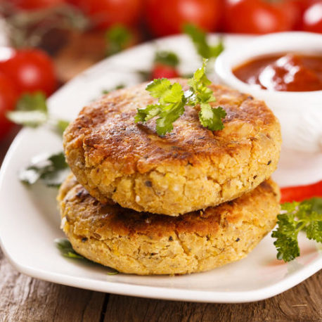 Vegetarian burger with tomato sauce